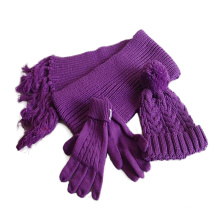 Comfortable Pretty women winter scarf jacquard weave fancy yarn knitted winter hats and scarf sets