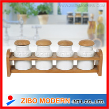 Ceramic Spice Jar with Wooden Rack