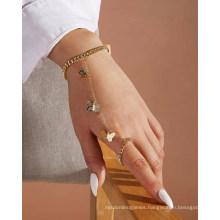 Latest Design 2021 Small Metal Butterfly Pendant Set Finger Bracelet Women Fashion Jewelry