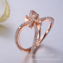 Fornecimento de jóias de prata esterlina rose banhado a ouro hip hop jóias
