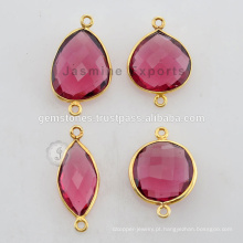 Fabricante 925 Sterling Silver Pink Tourmaline Gemstone Gold Plated Bezel Connectors