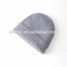 15PKB012 100% Rib cashmere beanie hat