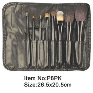 8pcs black plastic handle animal/nylon hair makeup brush tool set zipper case