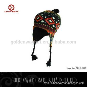 2016 Men's winter worn peruvian hat/ cheap wholesale custom beanies with ears