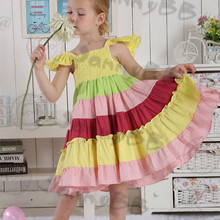 Hot sale cotton linen fabric rainbow toddler dress