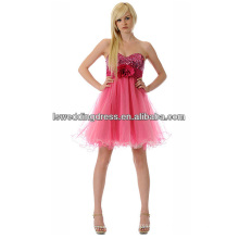 HC2061 Sexy strapless sequined top gathered belt with big flower pleated tulle skirt deep sweetheart party dress