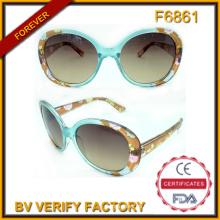 Venta caliente flor patrón marco gafas de sol plásticas (F6861)