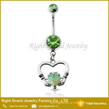 O aço 316L cirúrgico oscila a jóia branca do corpo do anel do umbigo do opala do coração