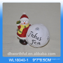 Christmas snow ball ceramic decoration with snowman figurine