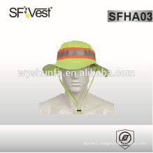 hat with 100% polyester fabric ,high visibility reflective tape and florescent color