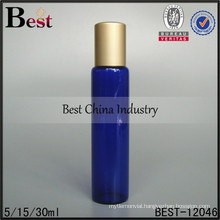 15/30ml blue glass roll on bottle for perfume with golden screw cap, free sample OEM packaging service china supplier