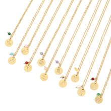 Customized 12K, 14K, 18k Gold Plated  Horoscope Zodiac Sign Coin Pendant Necklace