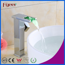 Fyeer High Body Brass Self-Generation Waterfall LED Basin Faucet