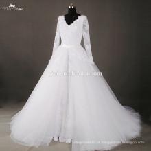 RSW807 V Decote Destacável saia vestidos de noiva saia removível Tulle Overskirt