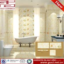 Vente chaude 300x450 porcelaine couleur crème carrelage mural pour salle de bains