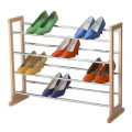 3 tiers chrome and wood shoe rack expanding in size from63.5cm to 116.5cm