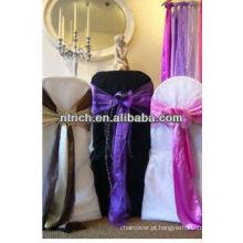 Tampa da cadeira do poliéster e faixa de cetim para casamento e banquetes