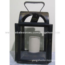 European old house-shaped metal candle holder, made of metal and glass, with powder coating finish