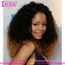 New Arrvial products Ombre human celebrity hair wigs for black women brazilian kinky curly full lace wig