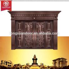Fábrica de portas exteriores personalizadas, porta de cobre duplo de cobre