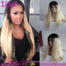 Paypal Accepté de Cheveux Humains Ombre Pleine Perruque de Lacet Aucun Envoi Tangle Cheveux Brésiliens Deux Tons de Cheveux Humains perruque