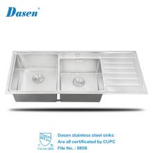 CUPC benutzte kommerzielle handgemachte doppelte Schüssel-handgemachte Edelstahl-InoxEmaille-Spülküche mit Behälter