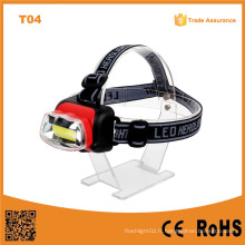 T04 La meilleure usine à prix avantageux COB LED Headlamp AA Plastic Camping Outdoor Waterproof LED Headlight