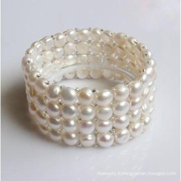 Bracelet à perles d'eau douce en forme de monnaie élastique à 4 lignes (EB1583)