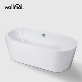 Mermaid Center Drain Soaking Tub i vitt