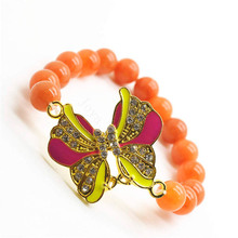 Red Aventurine Gemstone Bracelet with Diamante alloy Butterfly Piece