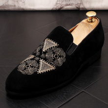 velvet leather shoes embroidery patch black summer