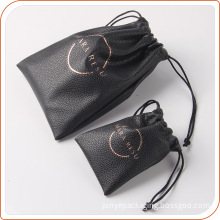 Quality black leather drawstring bag small pouches for article packing