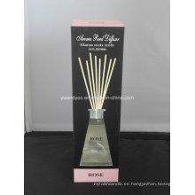 8 Rattan Sticks Rose Aroma Reed Difusor en botella de vidrio