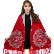 2017 invierno color sólido de la cachemira de jacquard de la manga del chal de la bufanda pashmina india bufandas pashmina ponchos