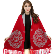 2017 winter solid color fake cashmere jacquard sleeve shawl india pashmina scarves pashmina ponchos