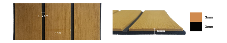 Synthetic Teak EVA Rv Flooring Non Slip Sheet edges