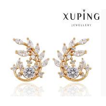 91385 moda elegante CZ diamante en forma de hoja 18k pendiente de joyería de imitación dorado