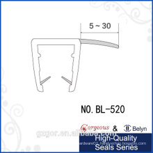 Bylen transparent 90 degree rubber seal strip for glass door side