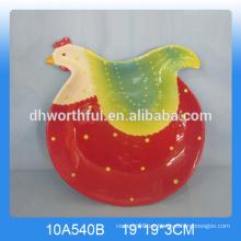 Plato de cerámica de gallo