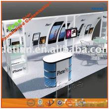 diseño de sala de exposición de teléfono celular con divisores de cabina para arte de stand de exposición