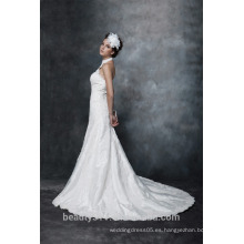 Vaina de encaje con cuello de encaje vestido de boda de tafetán AS29602