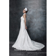 Sheath Halter Neck Lace-Up Taffeta Wedding Dress AS29602