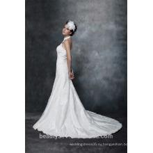 Оболочка Холтер V-образным вырезом Тафта свадебное платье AS29602