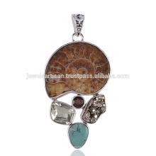 Ammonit und Multi Stein Lünette Einstellung 925 Sterling Silber Anhänger