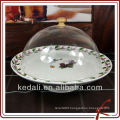 Round shape procelain cake stand with plastic cover