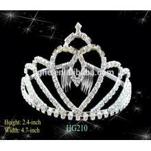 Buena reputación fábrica directamente nupcial peine tiara rhinestone corona de cristal