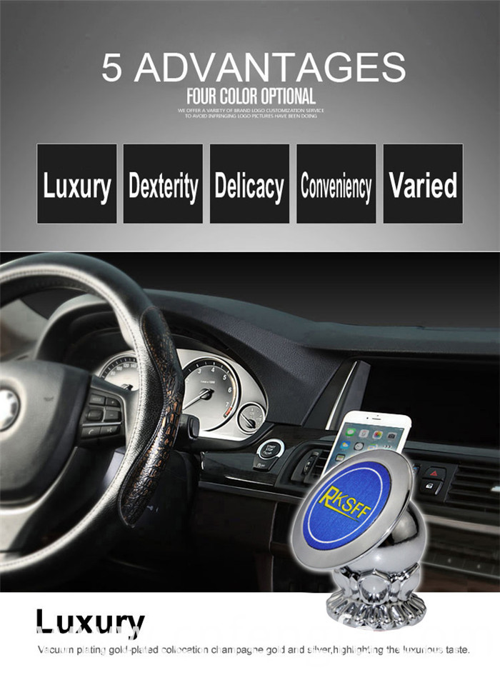 360 Rotating Magnetic Phone Holder Car Silver