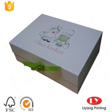 white magnetic cardboard gift box with ribbon