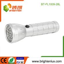 Alimentation en usine Prix à bas prix Logement Portable EDC Argent Couleur Aluminium 28 led lampe de poche led chinoise avec batterie 3 * AAA