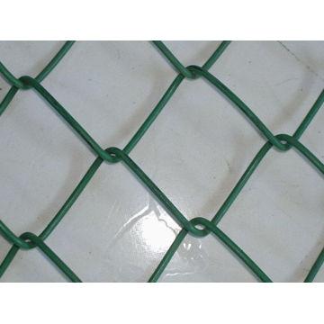 Malha de cerca de elo da cadeia de PVC revestido de cor verde